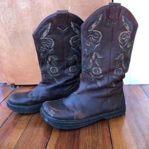 Embroidered Leather Cowgirl Boots